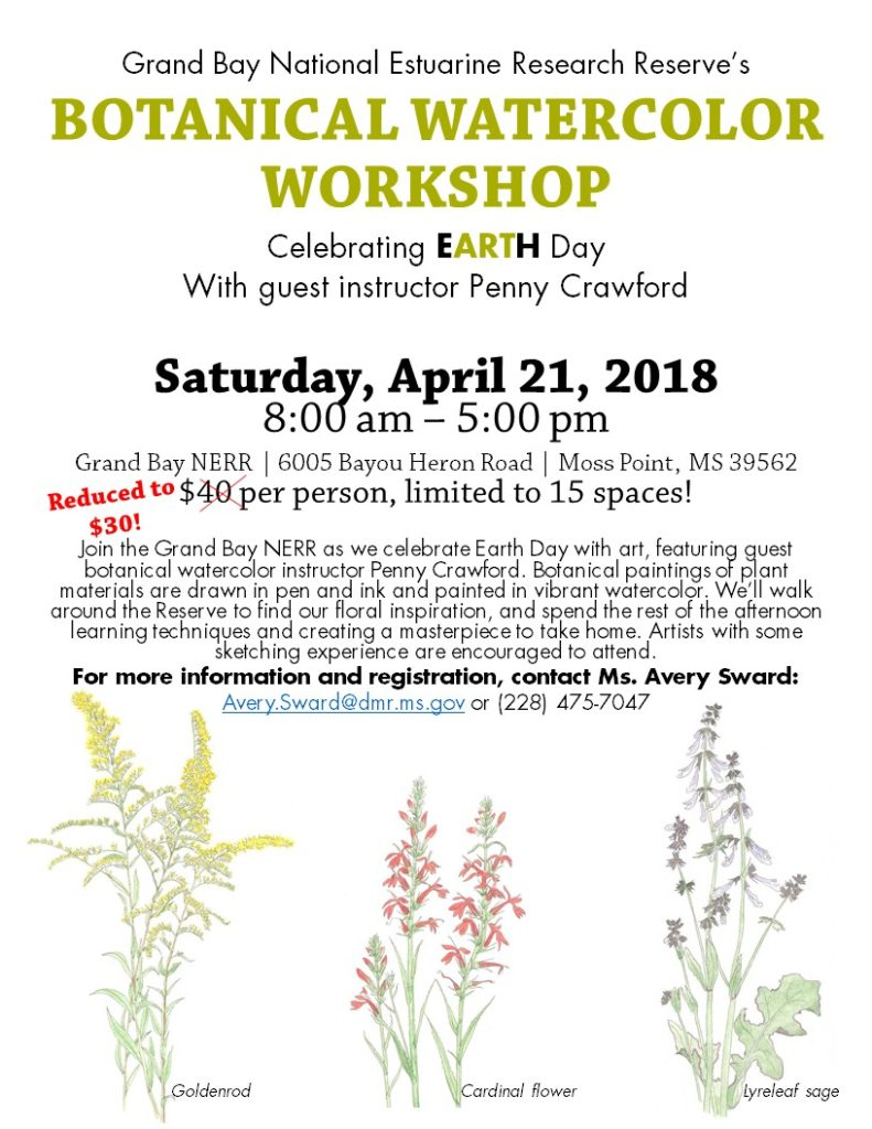 Earth Day Botanical Watercolor Workshop @ Grand Bay Coastal Resources Center | Moss Point | Mississippi | United States